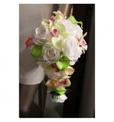 bouquet de mari e 1 boutonni re pour mariage rose et anis bouquet de la mariee. Black Bedroom Furniture Sets. Home Design Ideas