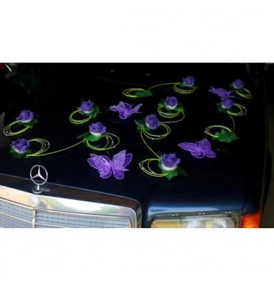 Décoration voiture mariage papillon couleur violet et vert
