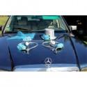 Splendide décoration de voiture de mariage thème turquoise et argent