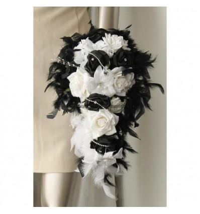 bouquet retombant mariée plumes