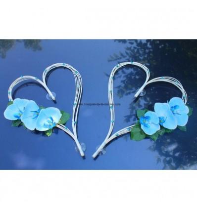 Cœurs mariage bleu turquoise, blanc orchidées et perles