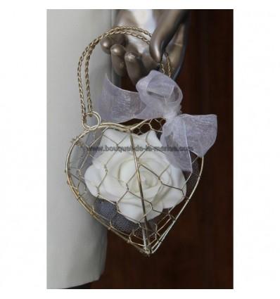 Bouquet Demoiselle honneur panier Cœur avec rose, tulle et perles