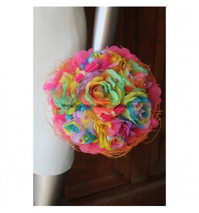 UNIQUE Bouquet mariée rond thème ''arc en ciel'' roses, perles et  tulle