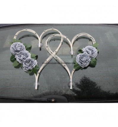 Cœurs mariage blanc et gris argent avec des roses et perles