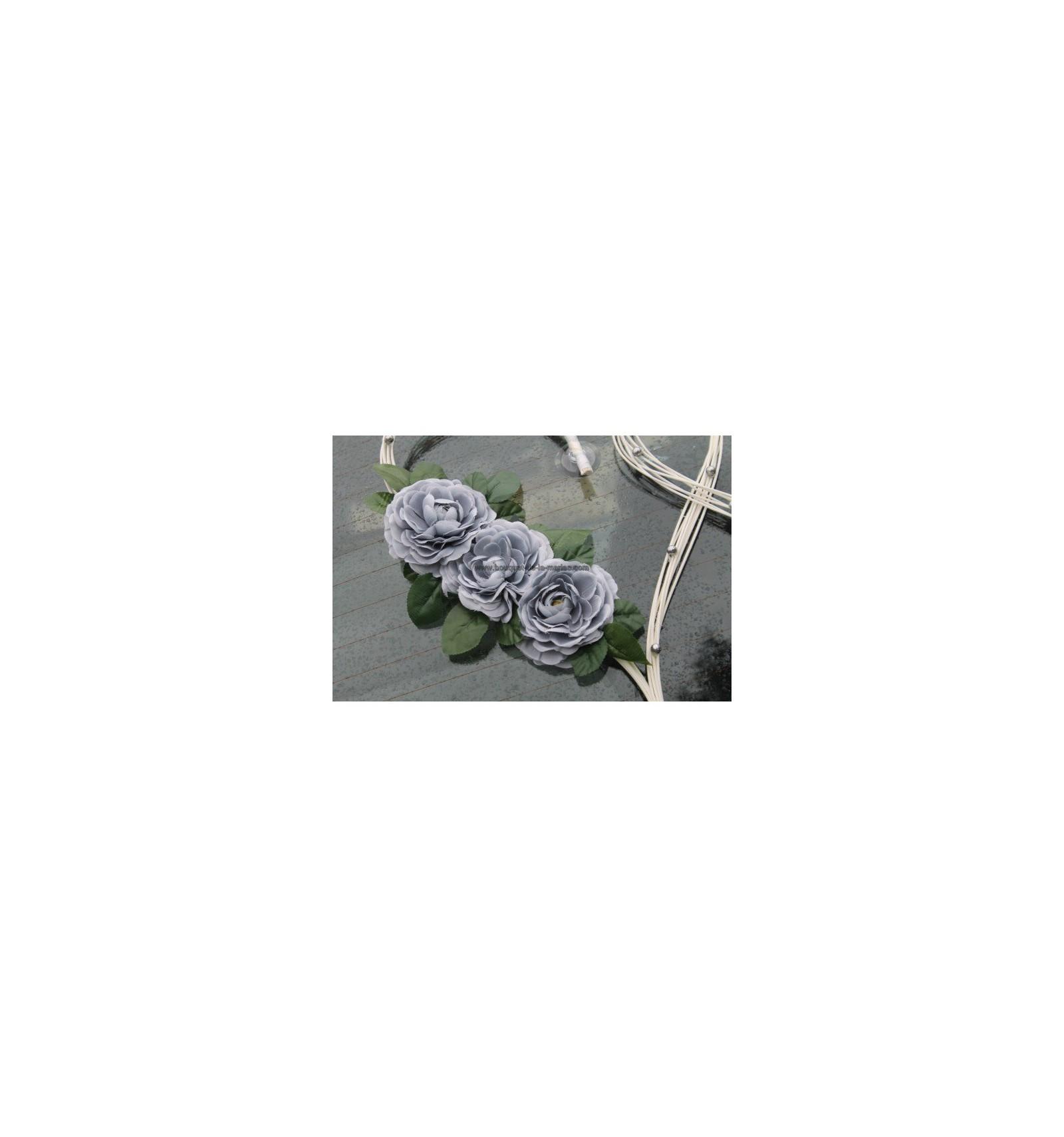 Decoration Voiture Mariage Gris Et Rose : Cœurs pour mariage thème blanc et gris argent avec des
