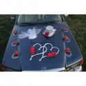 Splendide décoration de voiture de mariage thème rouge et argent