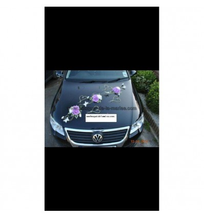 Décoration voiture mariage papillon, rotin, roses, perles
