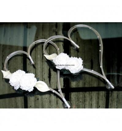 Décoration voiture de mariage type Cœurs avec Perles et Roses