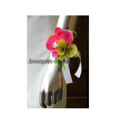 Pour mariage: Bracelet d'orchidée fuchsia et vert anis