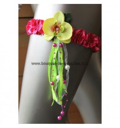 Jarretière couleur blanc fuchsia et vert anis avec orchidées, perles et rubans