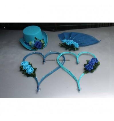 Chapeau voile et cœurs turquoise et bleu roi