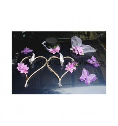 Décoration de voiture pour mariage orchidées et coeurs parme