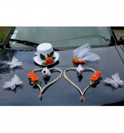 Décoration de voiture pour mariage chapeau, voile, coeurs orange