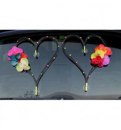 Décoration voiture pour mariage type Cœurs noir orchidée thème fluo