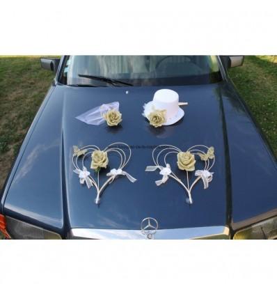 Décoration de voiture pour mariage chapeau, voile, coeurs BLANC et OR