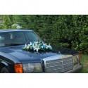 Bouquet de mariage pour voiture avec roses, lys turquoise et blanc cassé