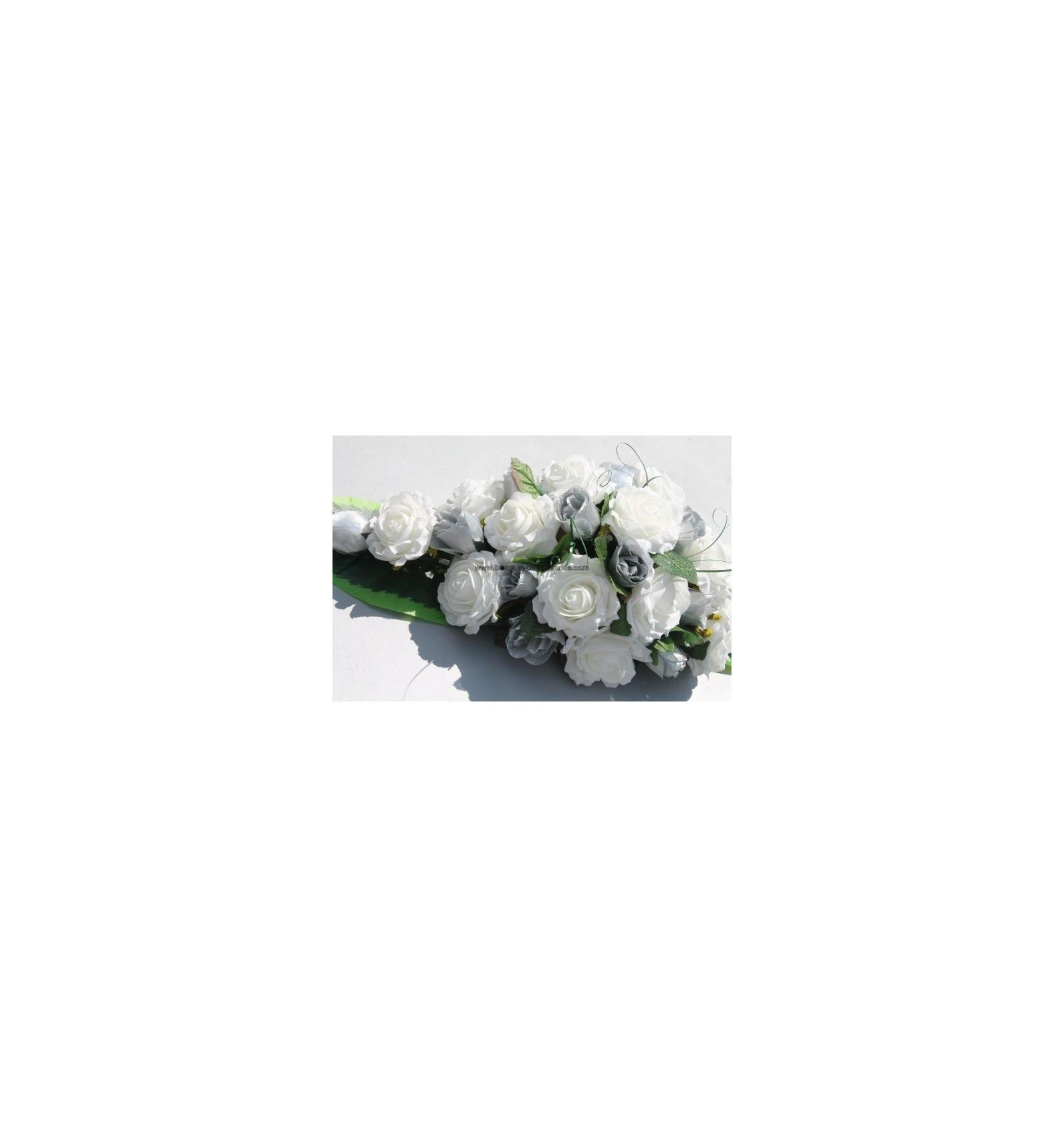 Decoration Voiture Mariage Gris Et Rose : Décoration pour voiture de mariage roses ivoire et gris