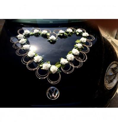 Décoration voiture mariage: Grand cœur de roses de 80 cm