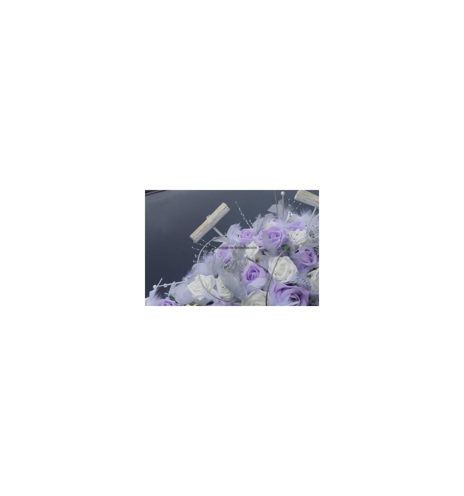Decoration Voiture Mariage Gris Et Rose : Décoration voiture de mariage plumes blanc parme et gris