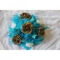 Commande lot Mariage: composition florale de voiture turquoise et or