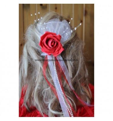 Peigne de cheveux mariage rose et rubans choix couleurs