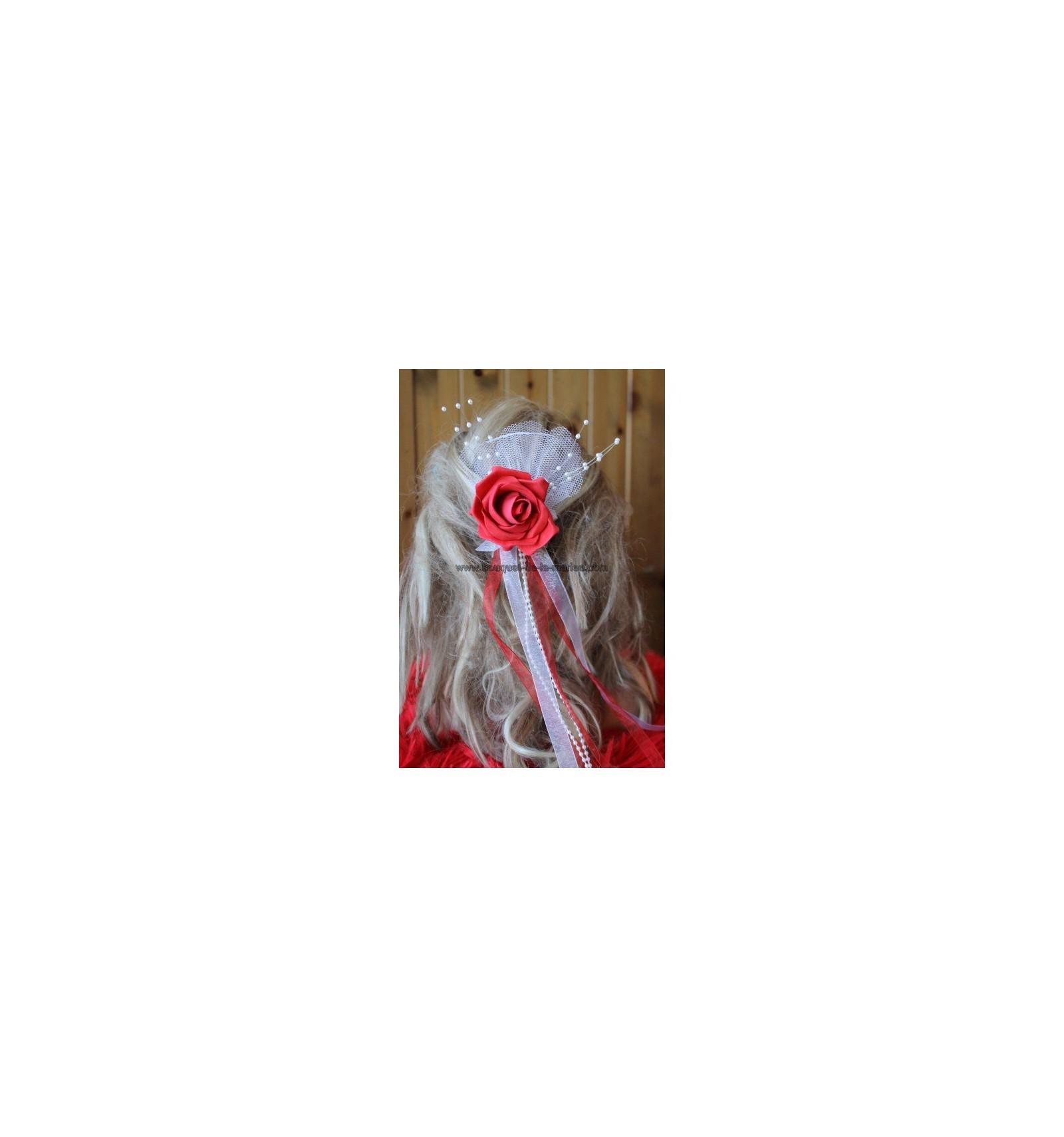 peigne de cheveux mariage rose et rubans choix couleurs bouquet de la mariee. Black Bedroom Furniture Sets. Home Design Ideas