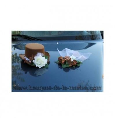 Chapeau et voile pour la voiture de mariage couleur chocolat