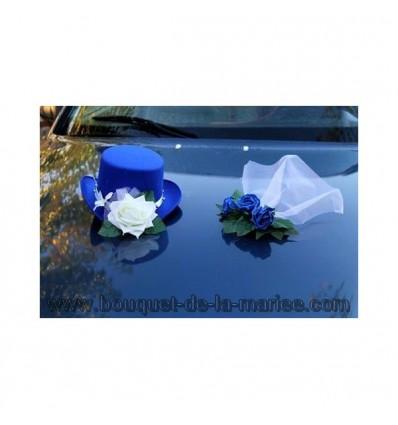 Chapeau et voile pour la voiture de mariage couleur bleu royal