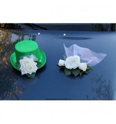 Chapeau et voile pour la voiture de mariage couleur vert