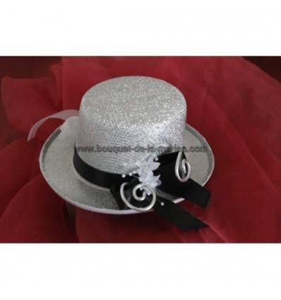Coussin d'alliances mariage chapeau haut de forme argenté et noir