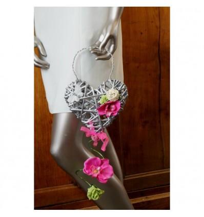 Bouquet de mariée Sac à Main thème coeur fuchsia et vert anis