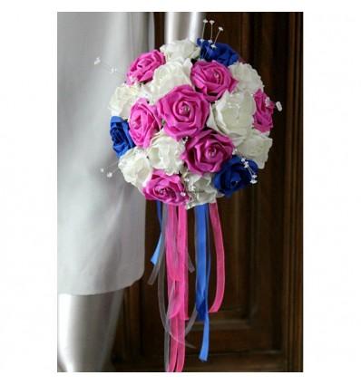 bouquet mari e rond th me bleu roi fuchsia et blanc perles bouquet de la mariee. Black Bedroom Furniture Sets. Home Design Ideas