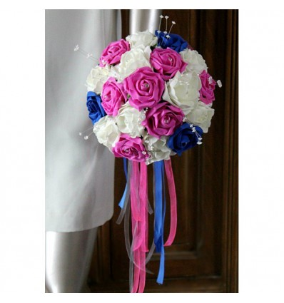 Bouquet Mariée Rond thème bleu roi, fuchsia et blanc perles