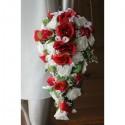 PROMO: Bouquet de fleurs Mariage Tombant roses rouges et blanches