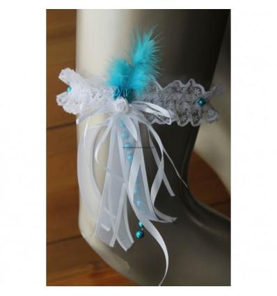 Jarretière blanche, turquoise, argent avec des rubans, tulle, perles