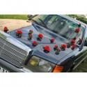 6 compositions florales voiture mariage roses: rouge et gris argenté