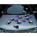 Décoration voiture mariage papillon et roses parme et rose clair