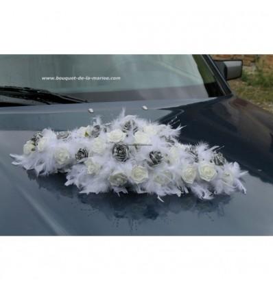 Bouquet voiture mariée plumes gris argenté et blanc