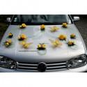 Decoration de voiture pour mariage jaune et vert avec des papillons