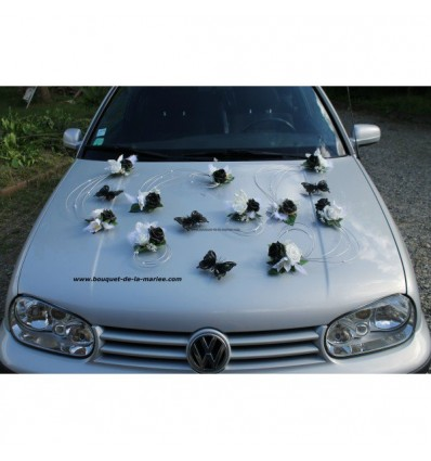 Decoration De Voiture De Mariage Noir Blanc Argent Avec Papillons