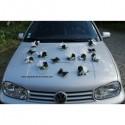 Décoration de voiture de mariage noir, blanc, argent avec papillons