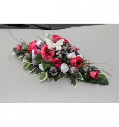 Gerbe composition florale voiture mariage fuchsia, gris, blanc