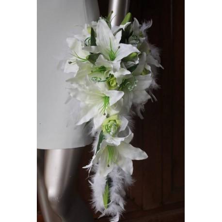 Bouquet de Mariée Blanc Tombant thème Anis ou Or avec des plumes