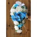 Bouquet de mariage Tombant thème Roses, Orchidées Blanc et Bleu