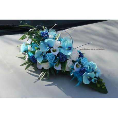 Décoration voiture mariage bleu, turquoise avec roses, orchidées...