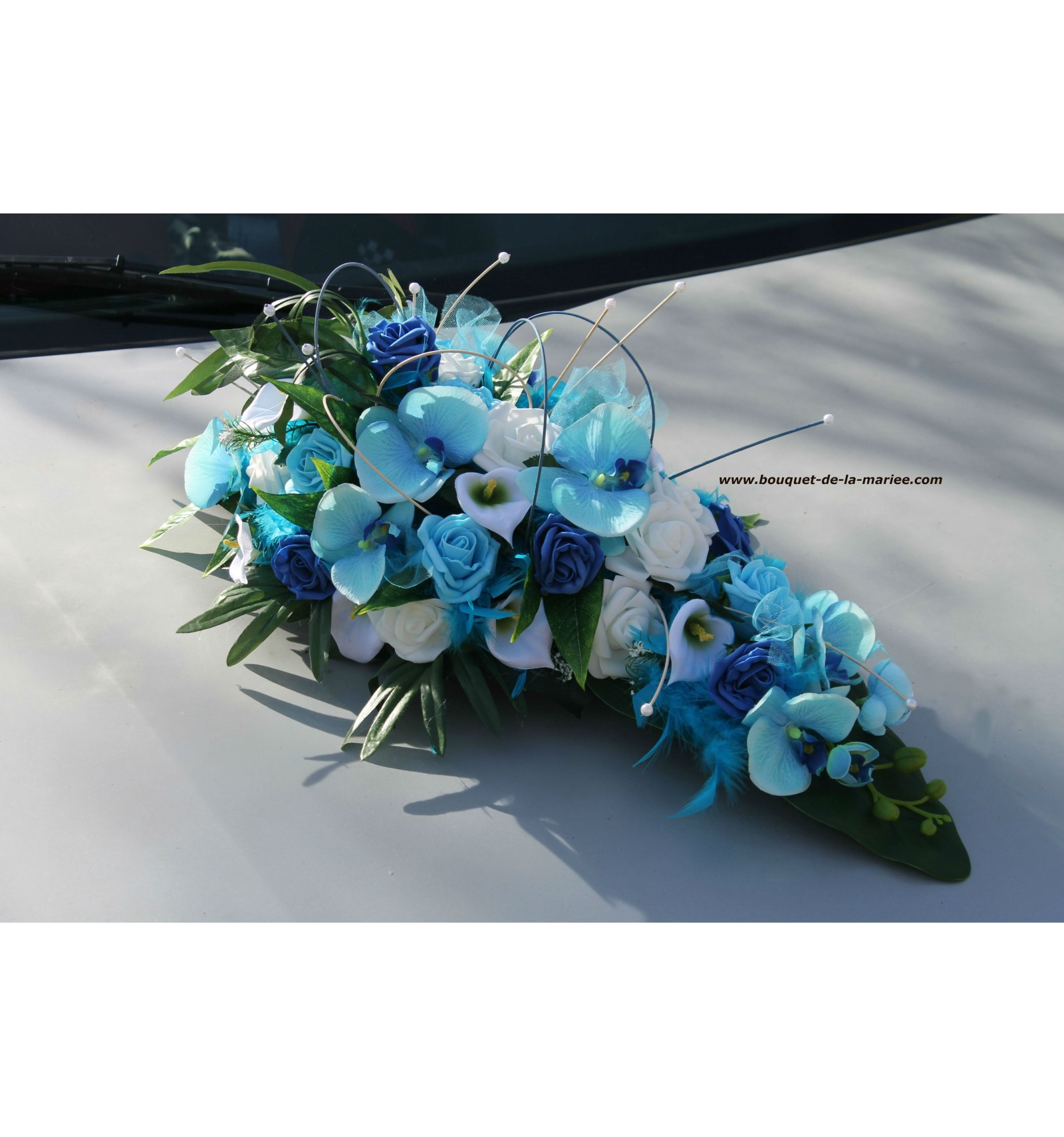 decoration voiture mariage turquoise