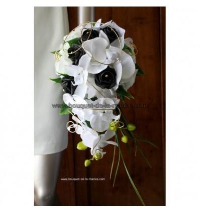 Bouquet de mariée pour mariage noir et blanc roses et orchidées
