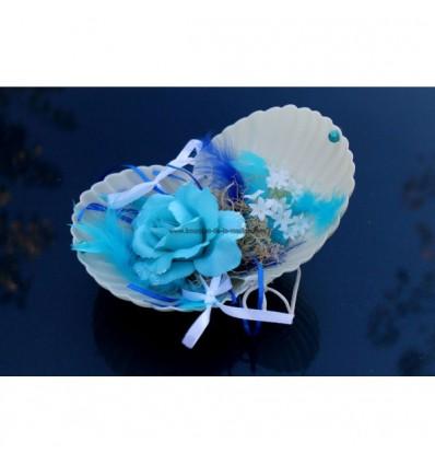 Coussin d'alliances coquillage mariage thème mer bleu et turquoise