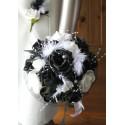 Bouquet de Mariée noir et blanc avec roses, perles, strass en PROMO