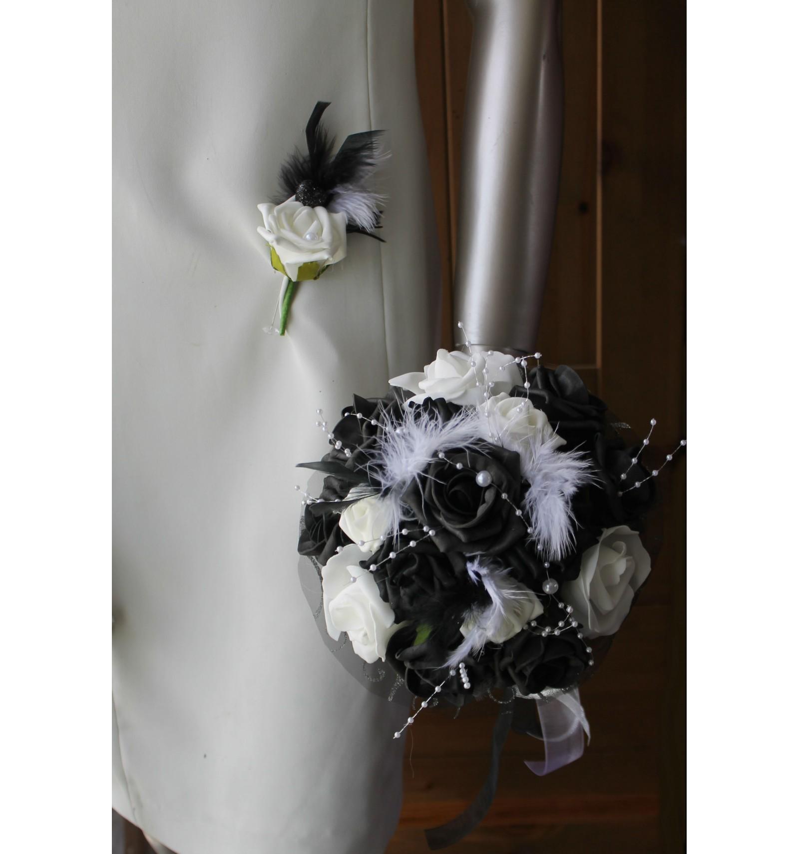 Bouquet de mari e noir et blanc avec roses perles strass en promo bouquet de la mariee - Strass pour bouquet de mariee ...